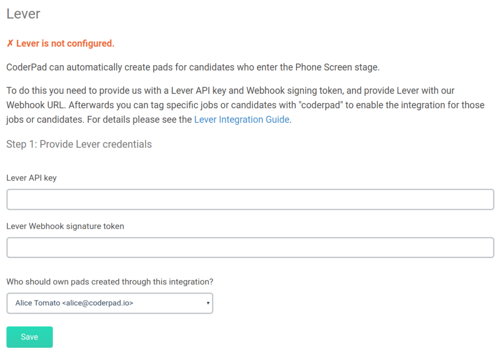 Lever is not configured