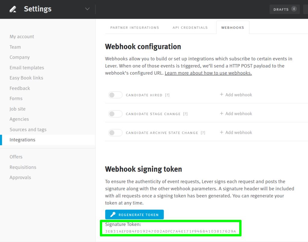 Webhook signing token