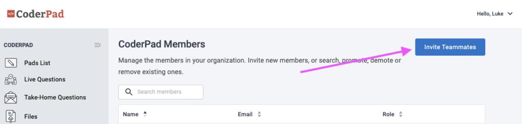 CoderPad Invite Team Members Button