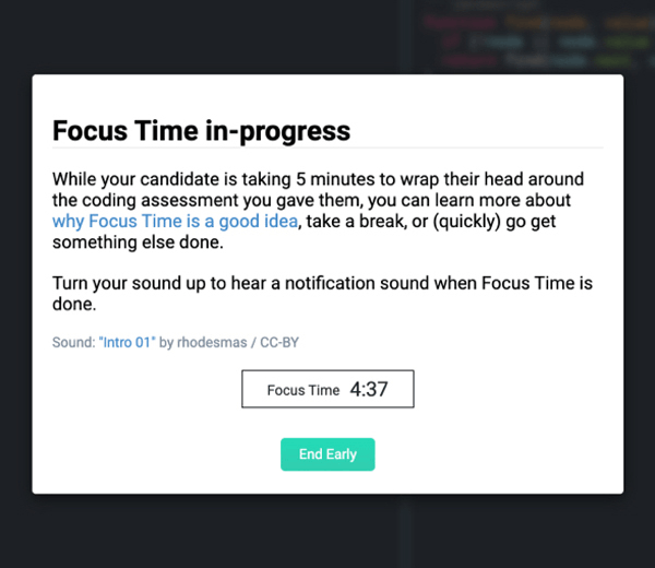 CoderPad's Focus Time feature lets candidates take a break to collect their thoughts for a better interviewing experience