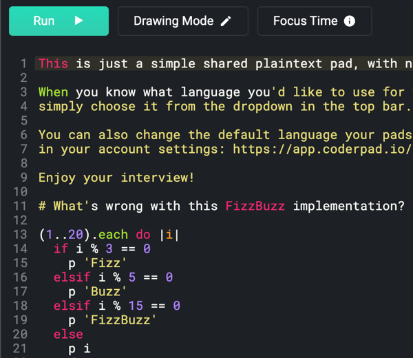 CoderPad IDE text editor with live coding and syntax highlighting