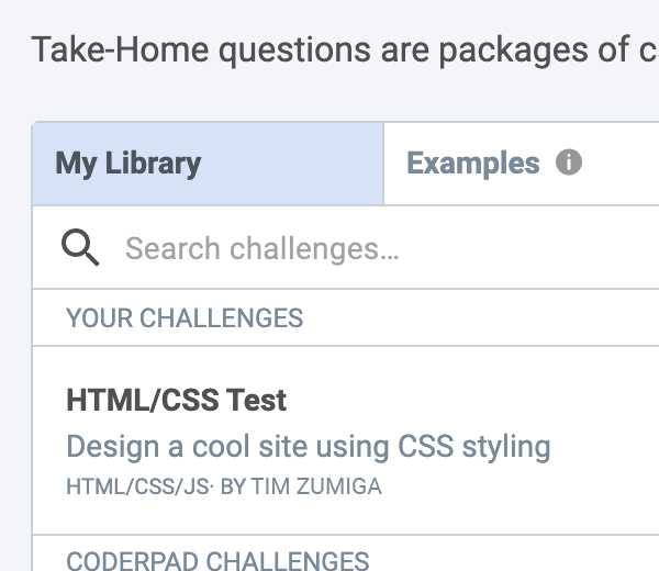CoderPad take home question user interface for making tests that can be completed as a project asynchronously