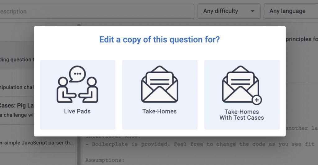 CoderPad Question Bank Edit a Copy Modal