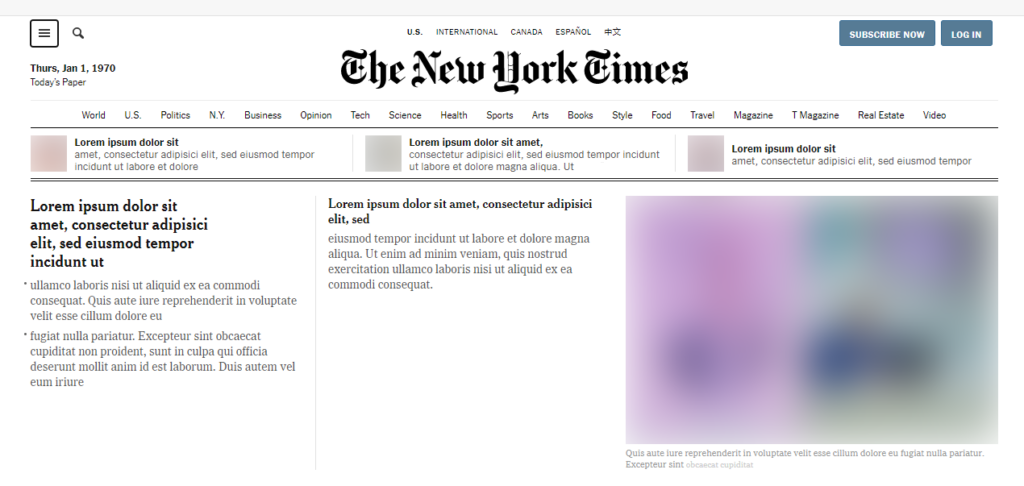 The initial homepage of New York Times