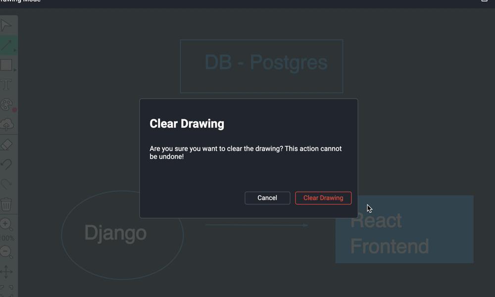 Clear Drawing warning screen