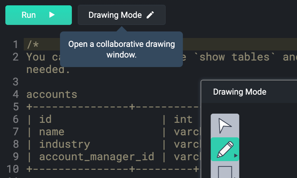 Open a collaborative drawing window
