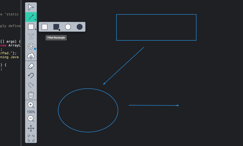 Drawing mode interface shapes