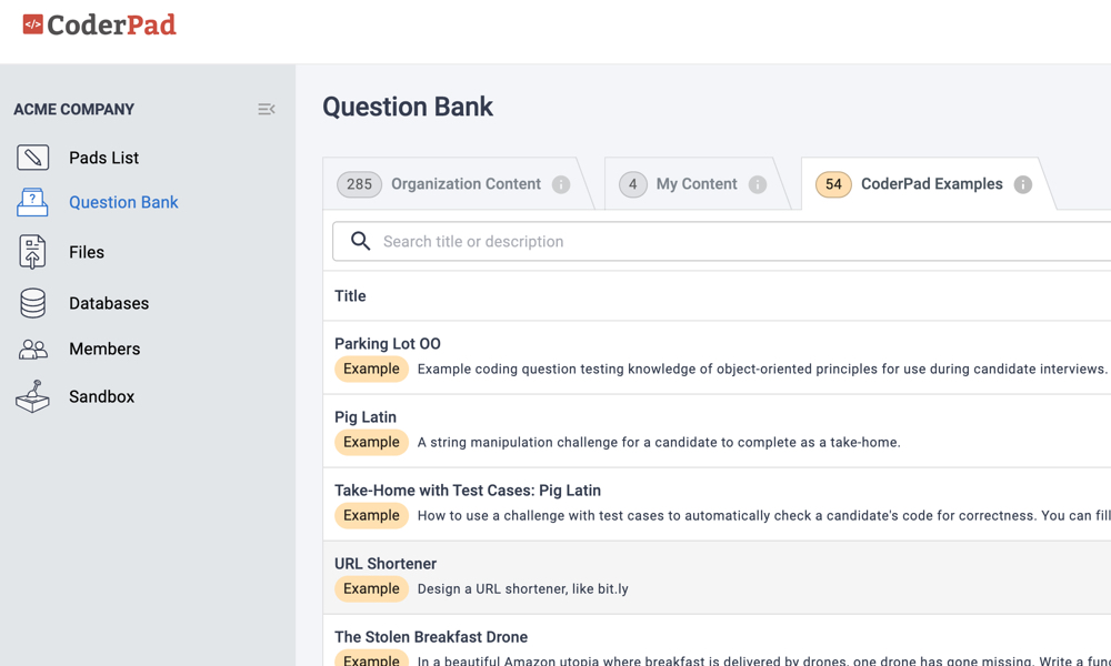 CoderPad example questions in the question bank