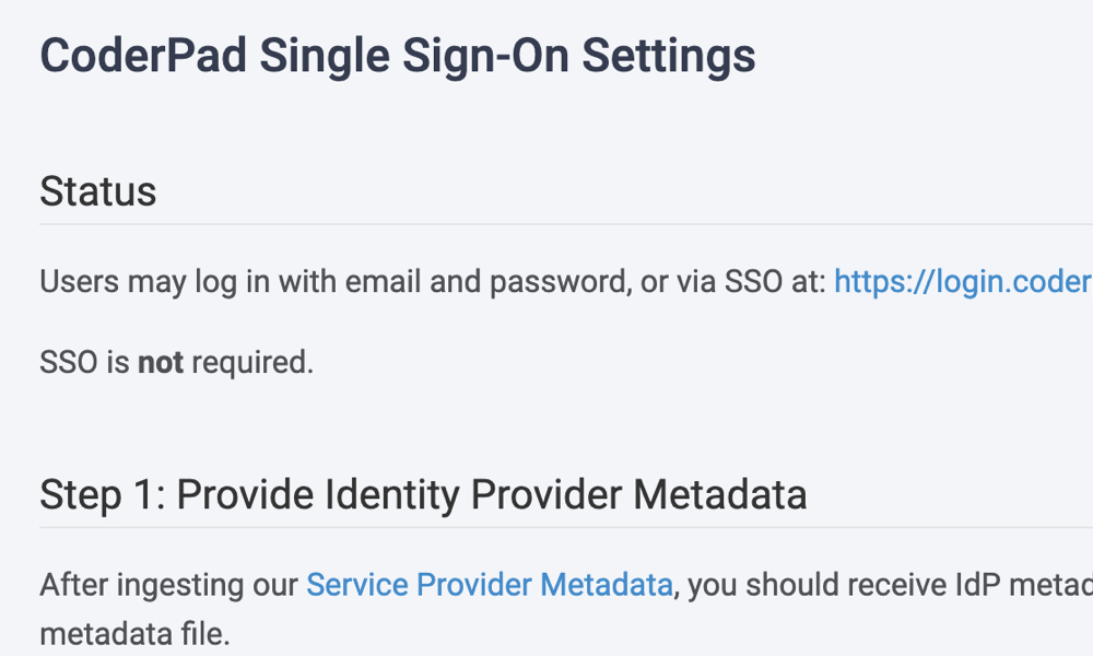 CoderPad Single Sign On Settings