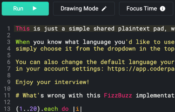 CoderPad editor editing a Fizz Buzz coding challenge