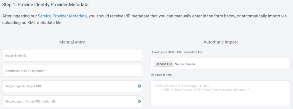 CoderPad Identity Provider Metadata dashboard