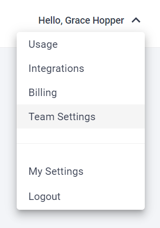 """Profile dropdown expanded with options. One of them is """"Team Settings"""""""