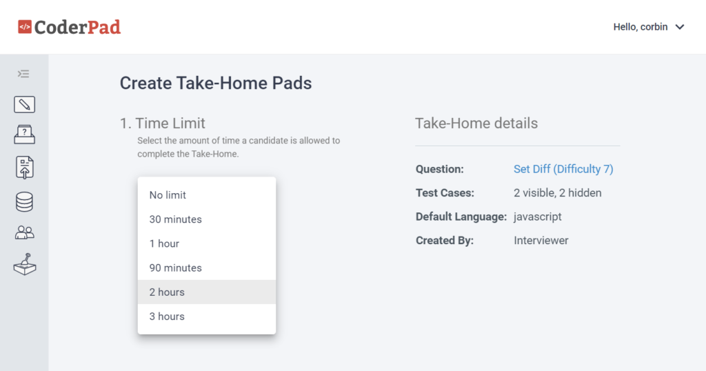 The options for time limit include: No limit, 30 minutes, 1 hour, 90 minutes, 2 hours, and 3 hours