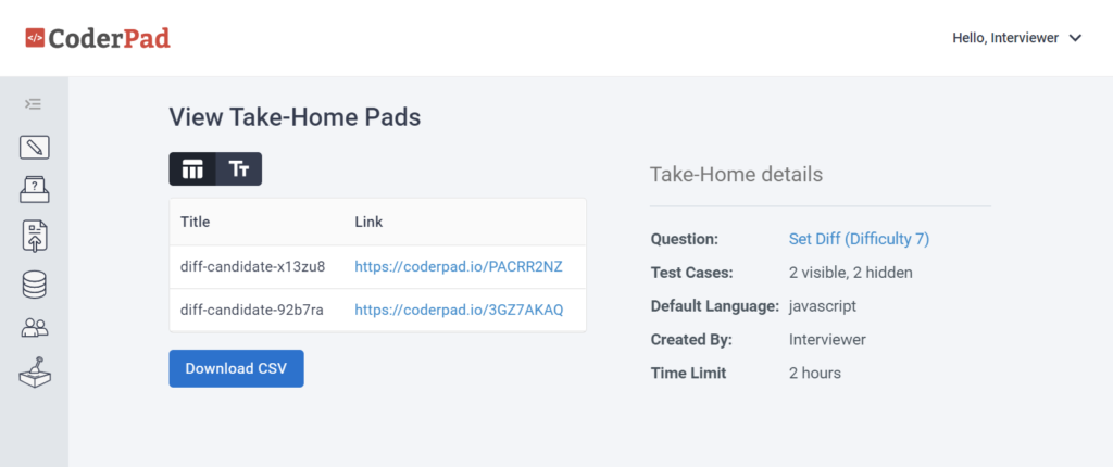 Once generated, the pads will show in a table that contain the title and link to the take-home