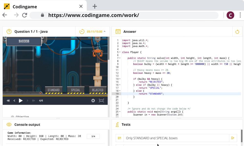 CodinGame test case evaluation for Java programming language