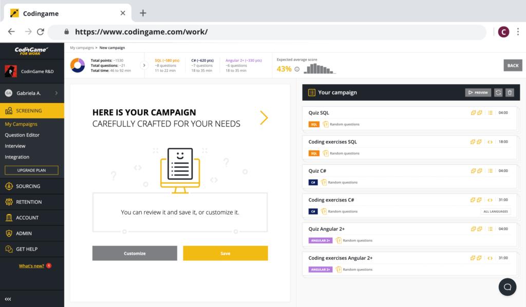 CodinGame screening campaign interface screenshot